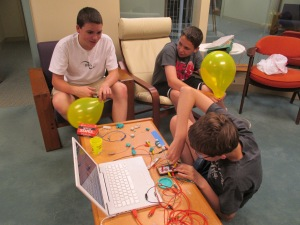 Attempting to use the Makey Makey with computer keys and playdough.